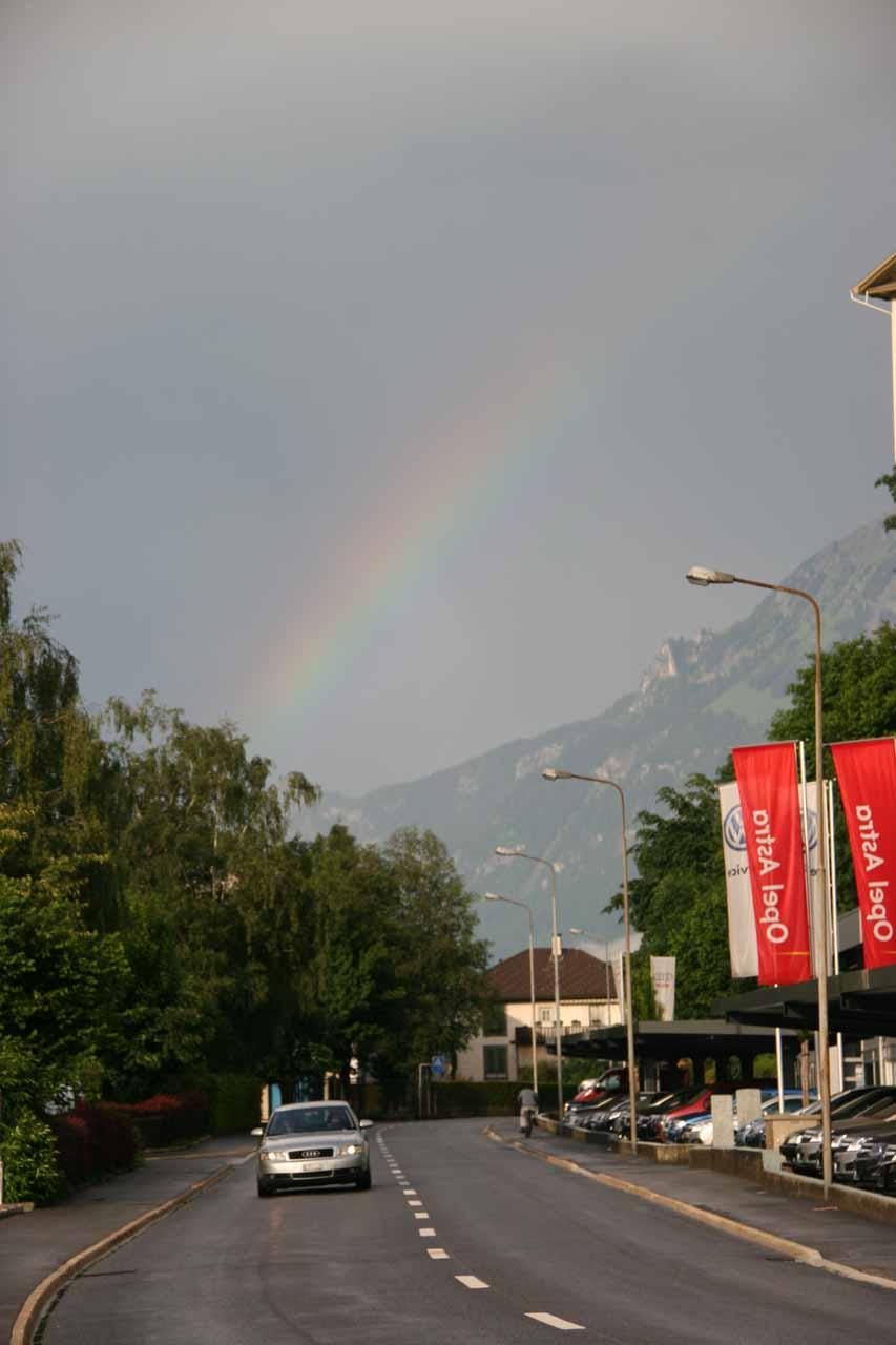 Rainbow seen en route to Little Thai Restaurant