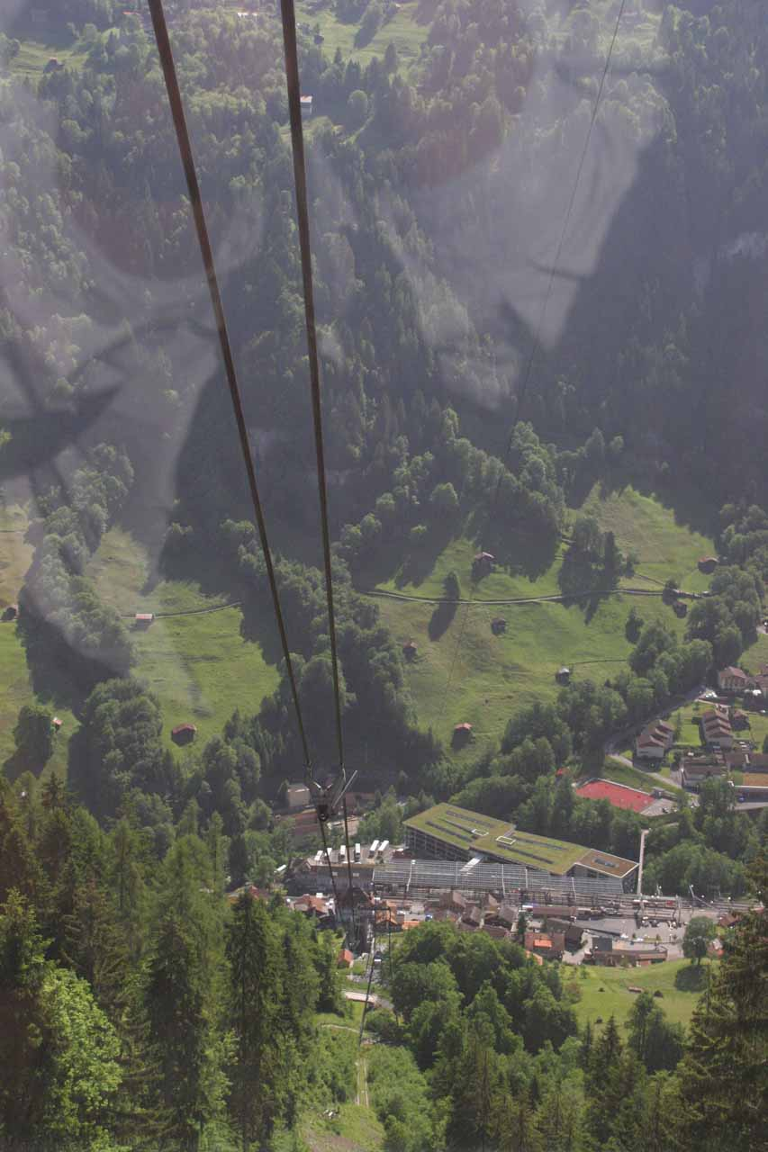 The cable car leading up to the short train ride to Murren