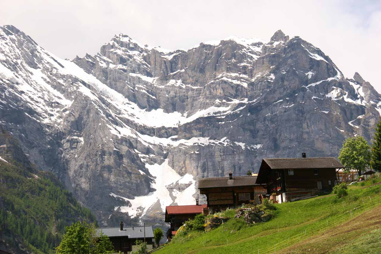 Even when we descended from Schilthorn, we checked out other quaint villages on hanging pastures above Lauterbrunnen Valley with gorgeous backdrops like this