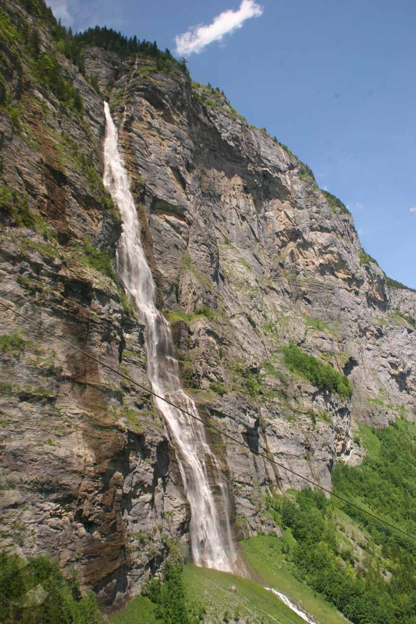 Full view of Murrenbach Falls from the cable car
