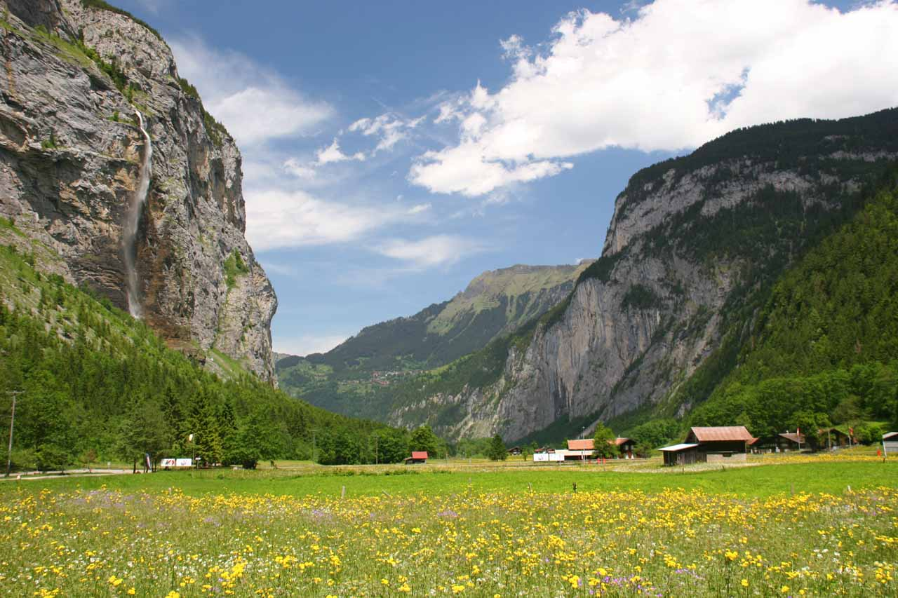 This is a view of Aegertenbach Falls backing some farms and an attractive flowery field
