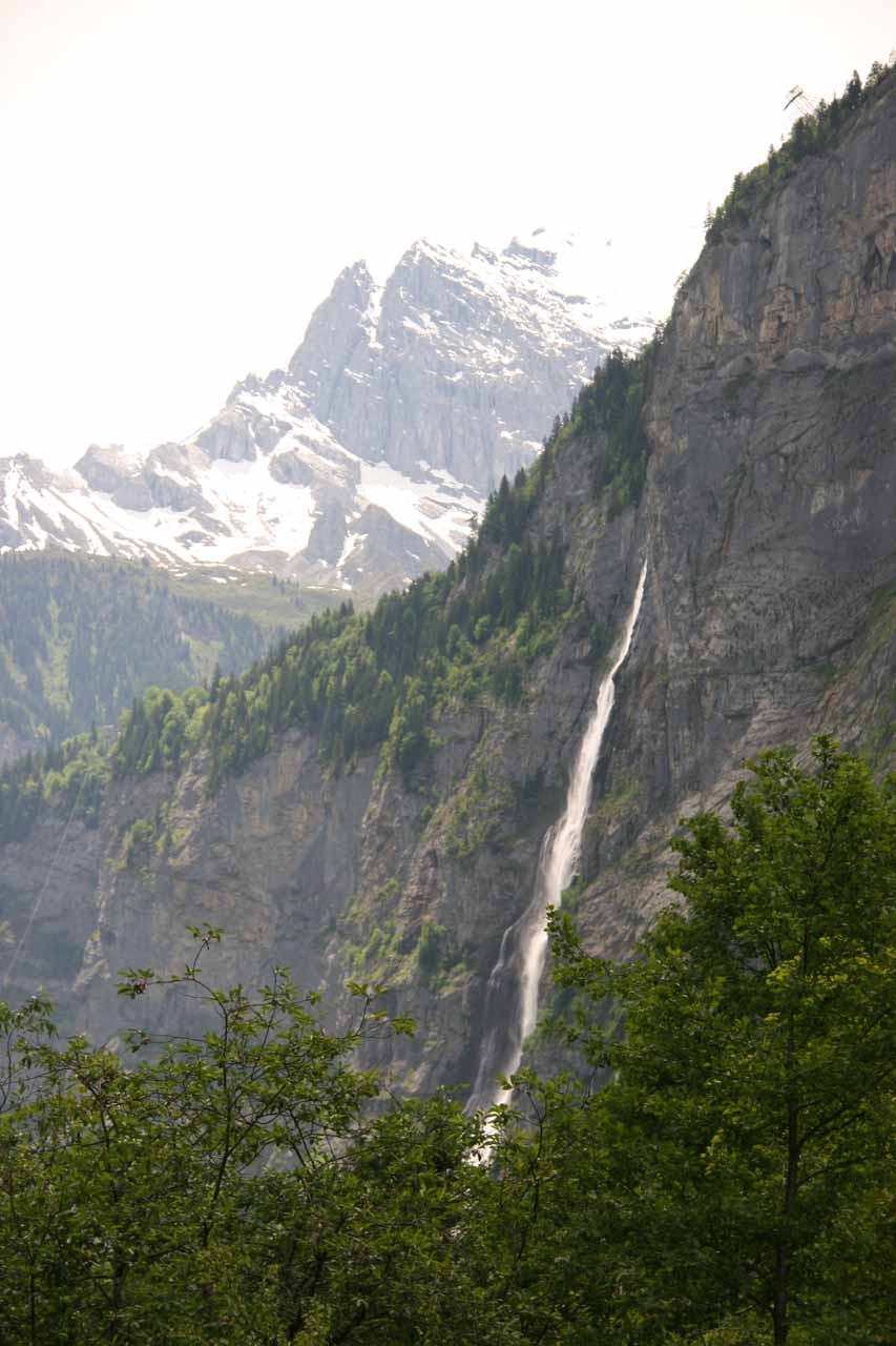 Angled view of Murrenbach Falls from Trummelbach Falls