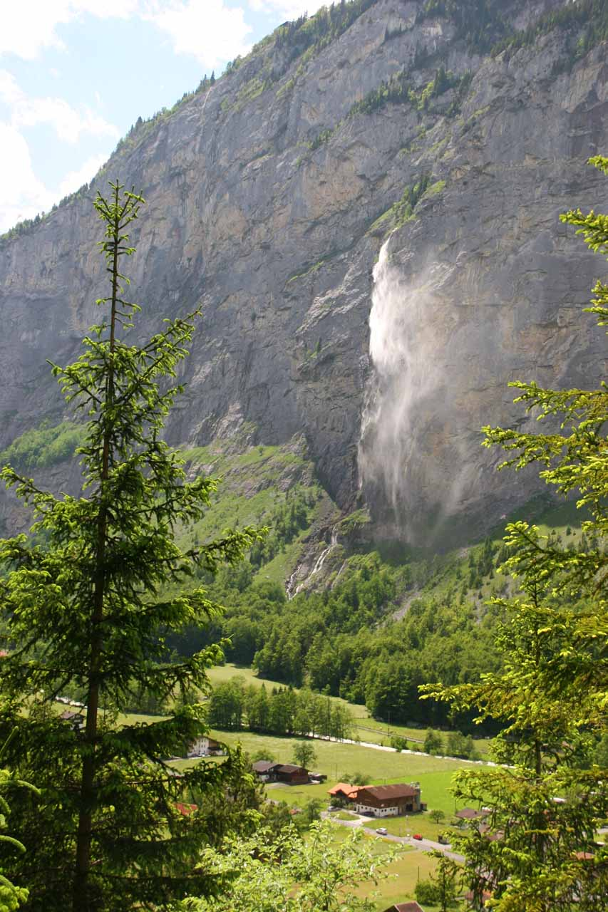 Looking at the falls scattering with the wind from Trummelbach Falls