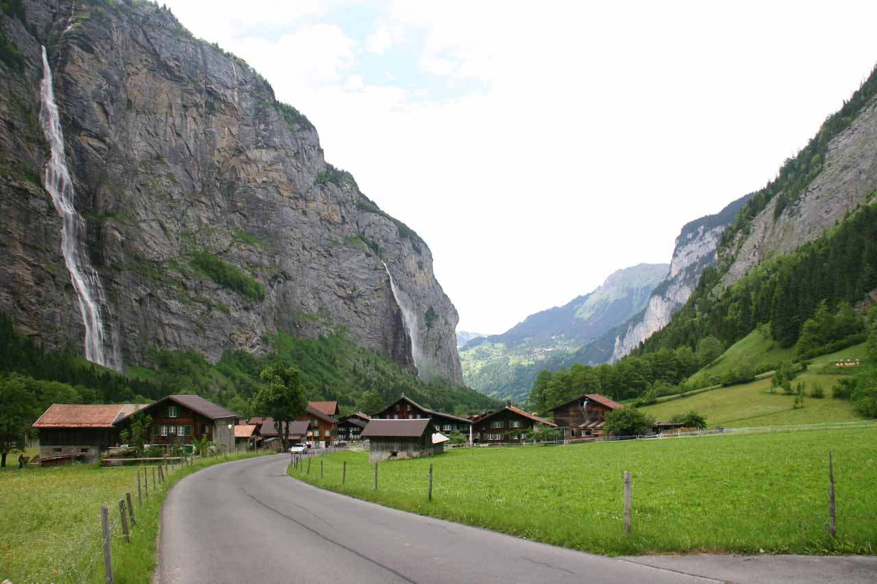Looking back towards Lauterbrunnen as Murrenbach Falls and Aegertenbach Falls tumble on the left side of the valley