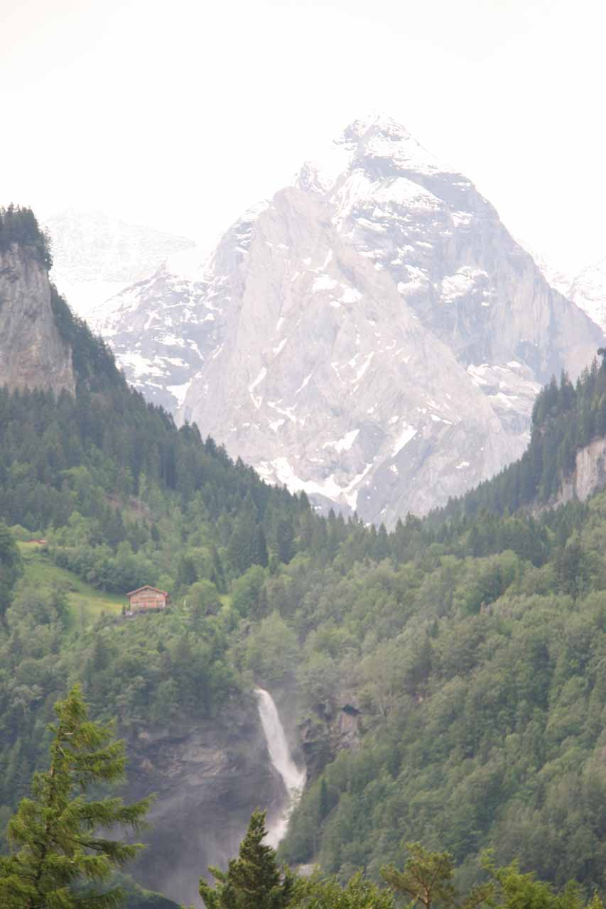 As we approached Reichenbach Falls from the town of Meiringen, we got our first glimpse of the falls backed by an impressive mountain