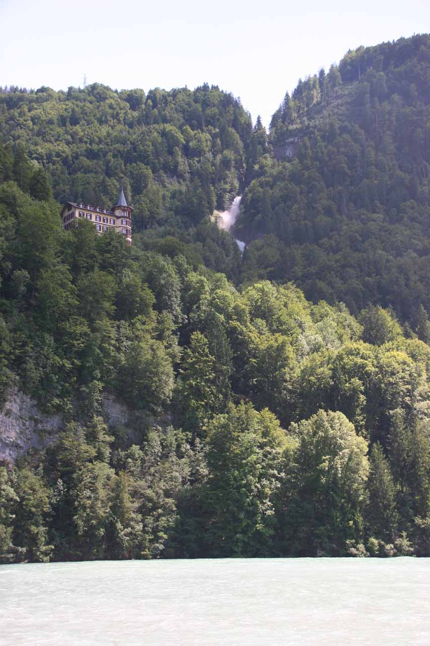 Approaching the side of the lake with the Giessbach Falls and Hotel perched high above
