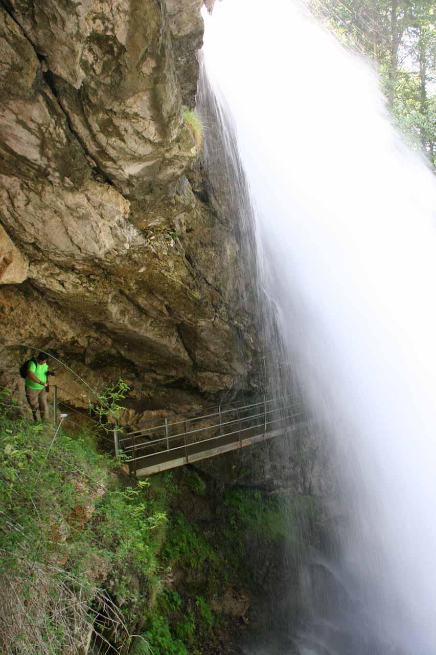 Going behind Giessbach Falls