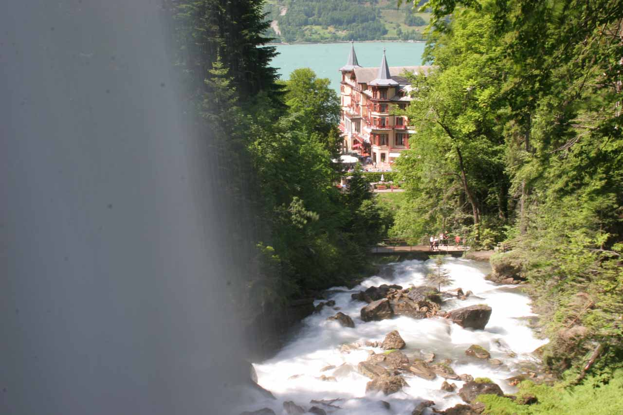 This was the view looking out from behind Giessbach Falls towards the historic Giessbach Hotel. Yes, this is one of those waterfalls that let you go behind it