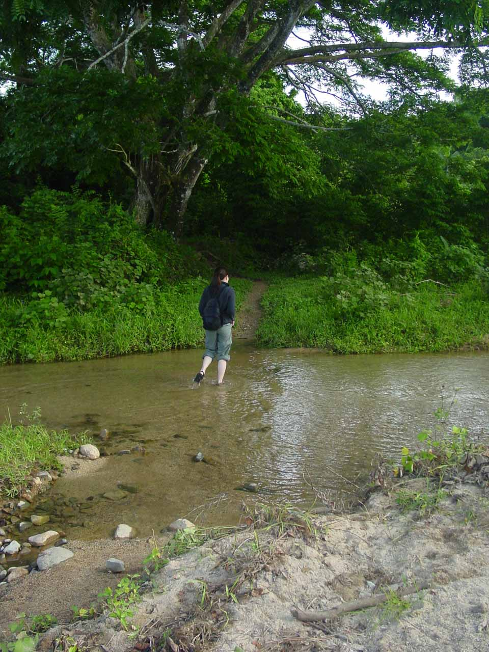 Julie on the first of many stream crossings