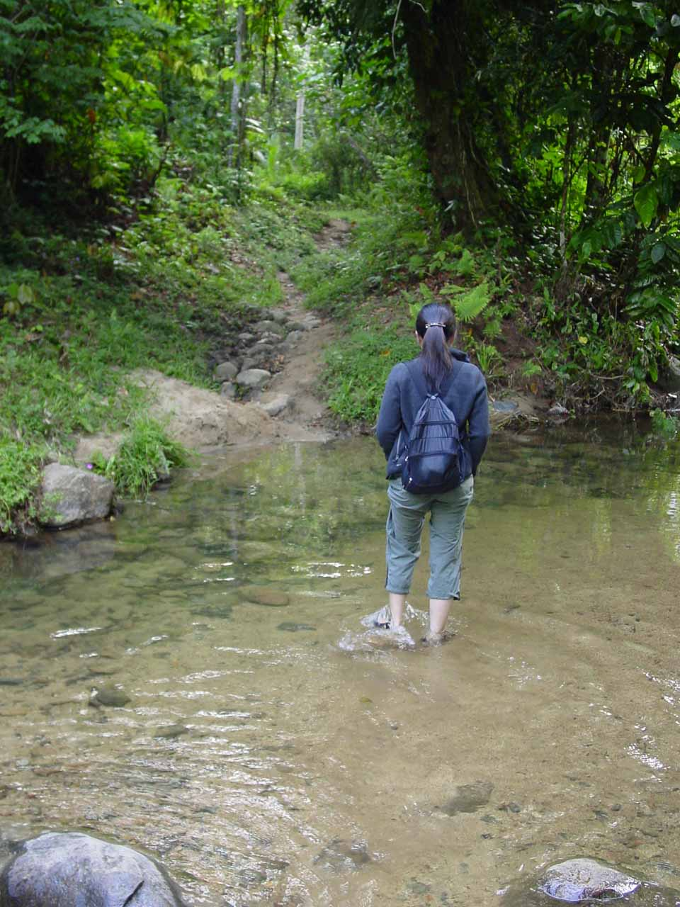 Julie on another of the stream crossings