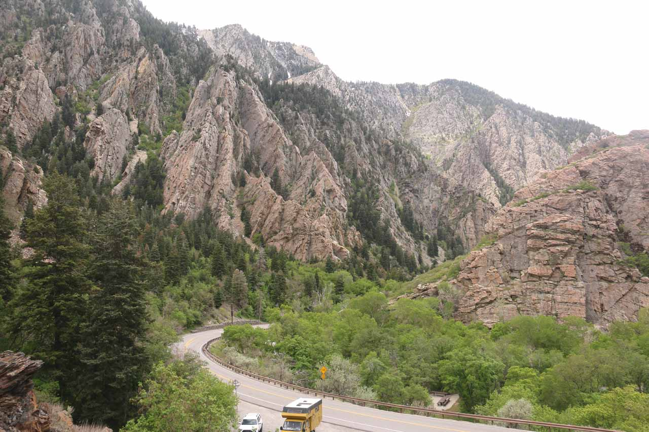 Donut Falls was situated roughly 9 miles up Big Cottonwood Canyon, which itself featured some dramatic cliffs like what's shown here