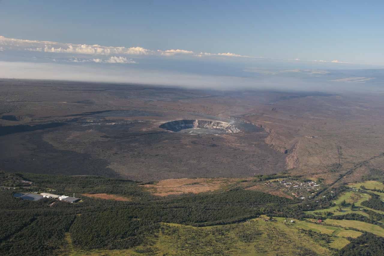 A large volcanic crater.  Chopper tours on this island mostly focus on the volcanoes, and apparently only specialized tours also feature waterfalls.