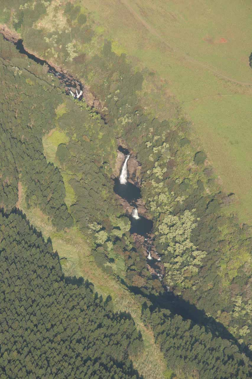 Waterfalls near Hilo as seen from the air
