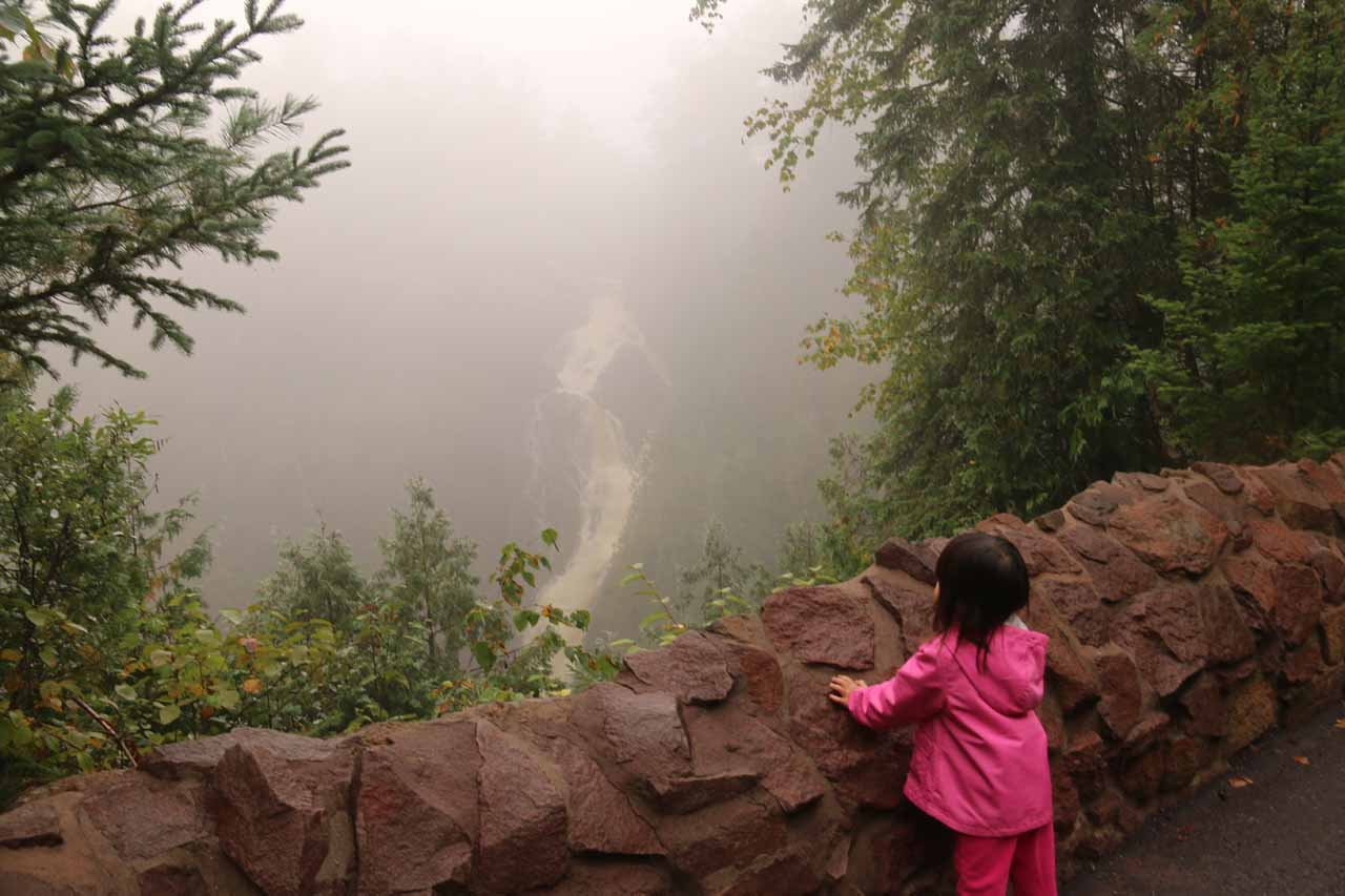 Tahia checking out the foggy Big Manitou Falls