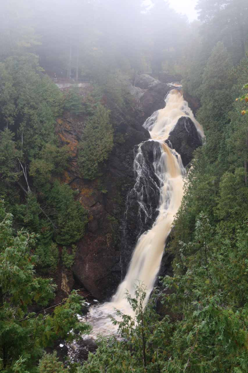 We took some time visiting Little Manitou Falls before coming back to Big Manitou Falls, and the result was a less foggy view of the larger waterfall