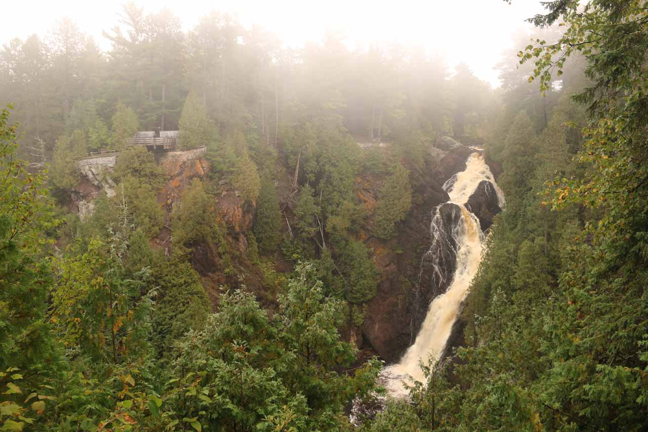 View of Big Manitou Falls that was much improved as the fog was lifting