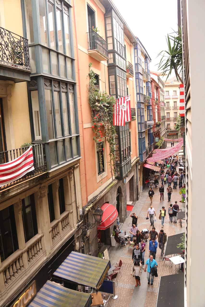 Looking down at the Calle Jardines in the Casco Viejo of Bilbao