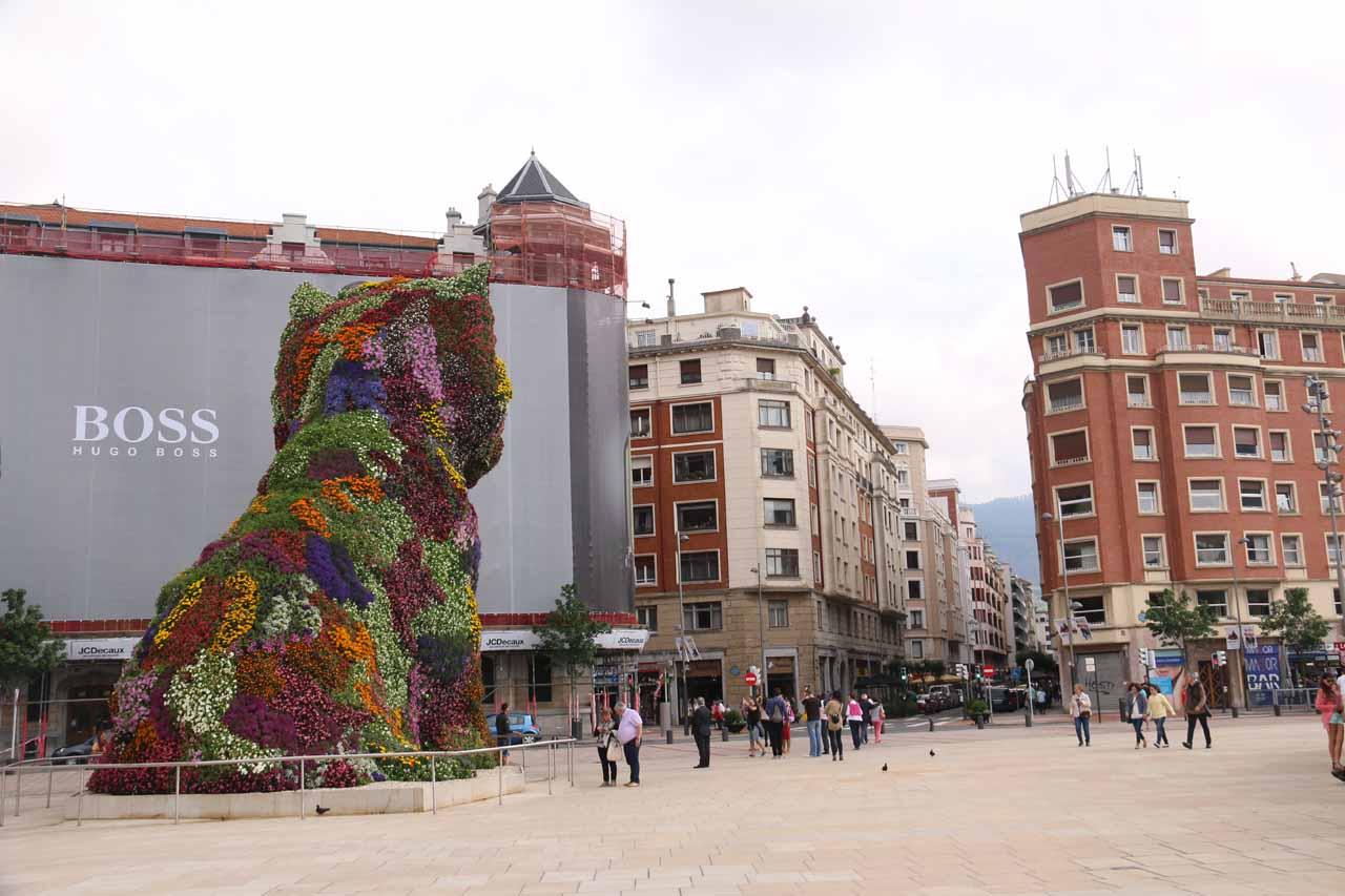 At the entrance to the Guggenheim in Bilbao looking back at the big multi-colored dog hedge