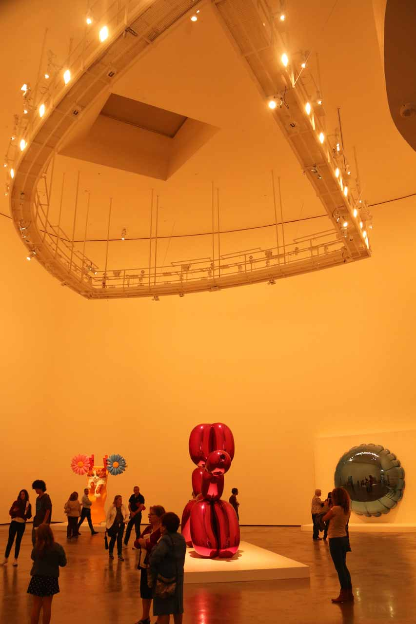 One of the rooms on the 2nd floor of the Guggenheim Museum, which Tahia enjoyed because of the balloon-like exhibit here