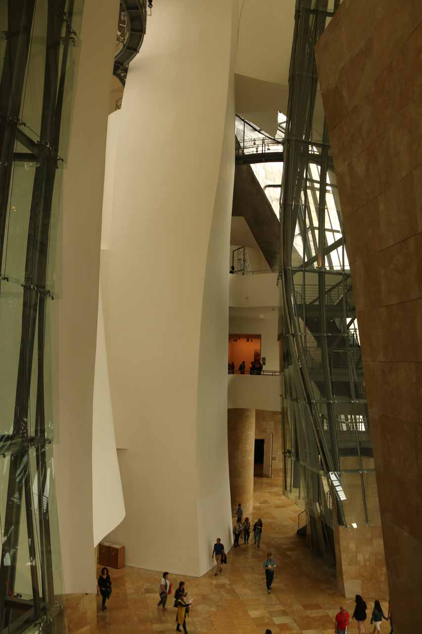 Checking out the huge atrium inside the Guggenheim, where none of the walls seemed to be straight