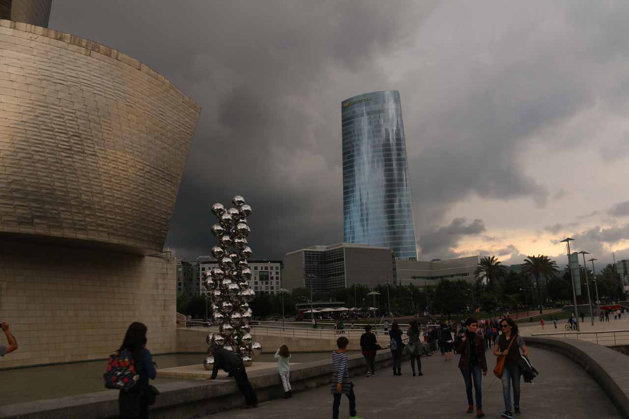 Another look at the threatening clouds ready to dump their load on the Guggenheim Bilbao area