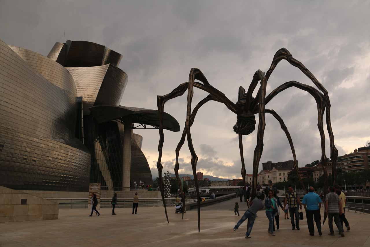 Looking back towards the Guggenheim Museum in Bilbao beneath this familiar spider thing that seemed to be common in many museums around the world