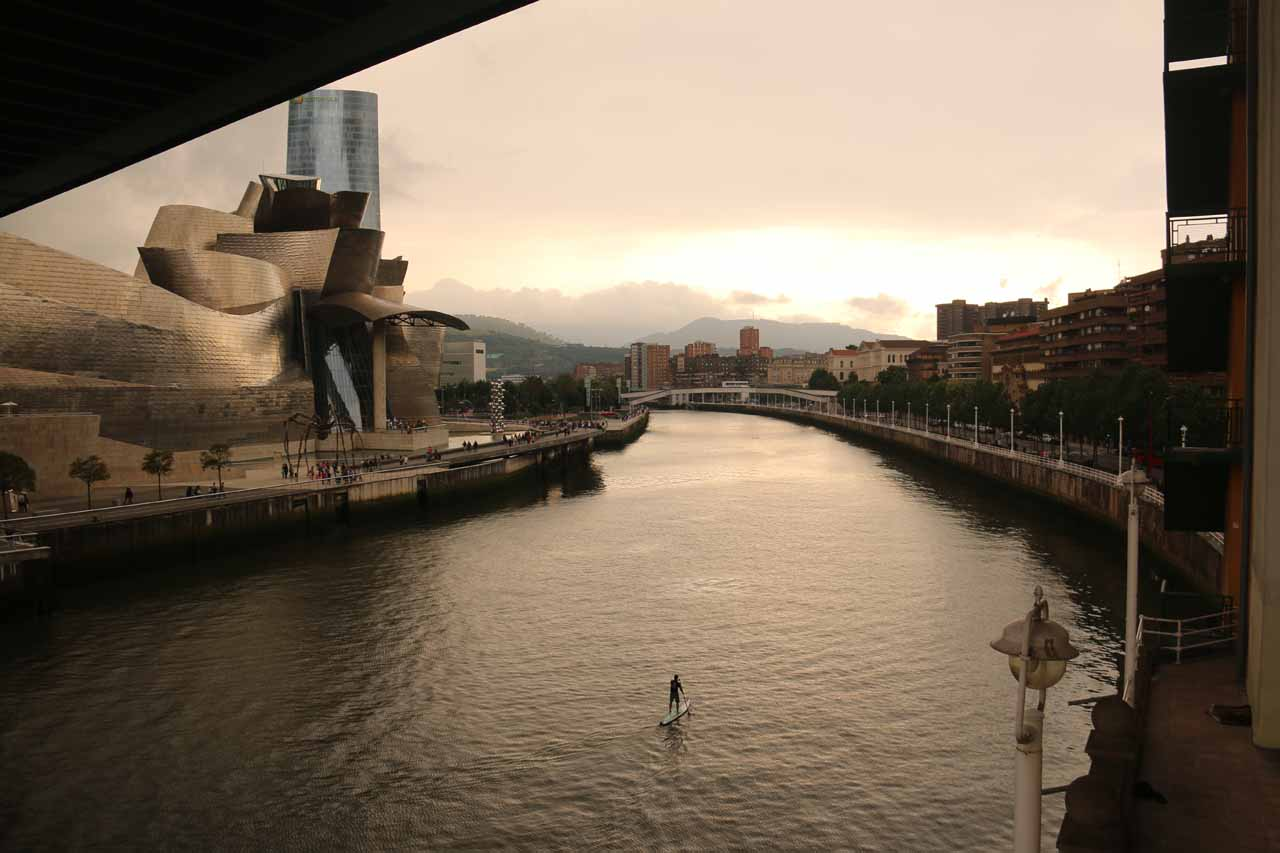 Gorgeous colors and scenery looking towards the Guggenheim Bilbao museum while I was crossing the Ria de Bilbao