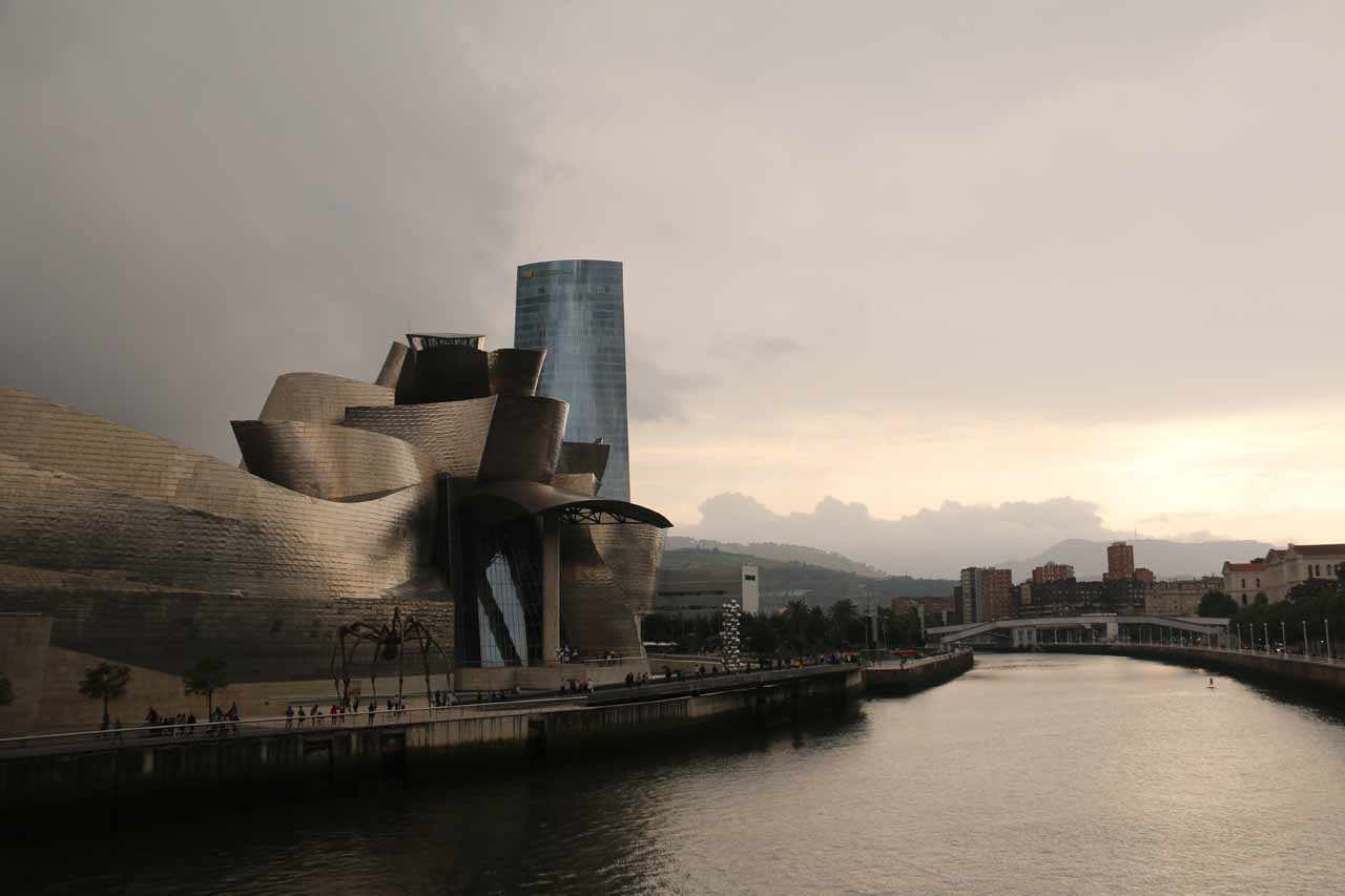 Another menacing look towards the Guggenheim Bilbao museum with dark clouds hovering above