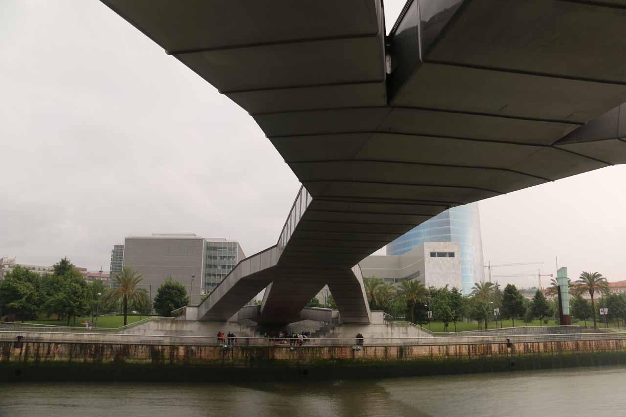 The view across the Ria de Bilbao from beneath the Puente Pedro Arrupe