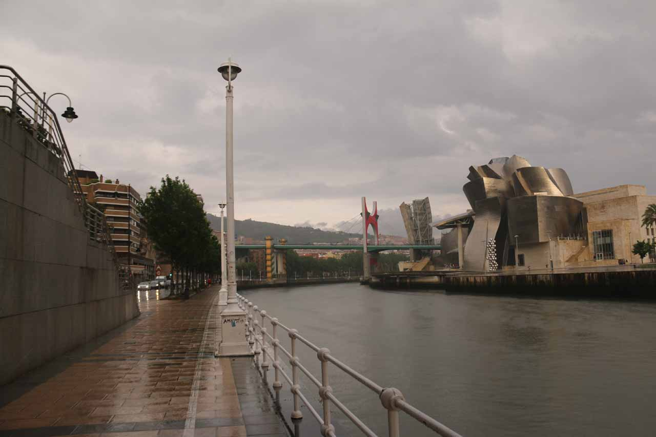Looking back towards the Guggenheim Bilbao museum while it was still raining