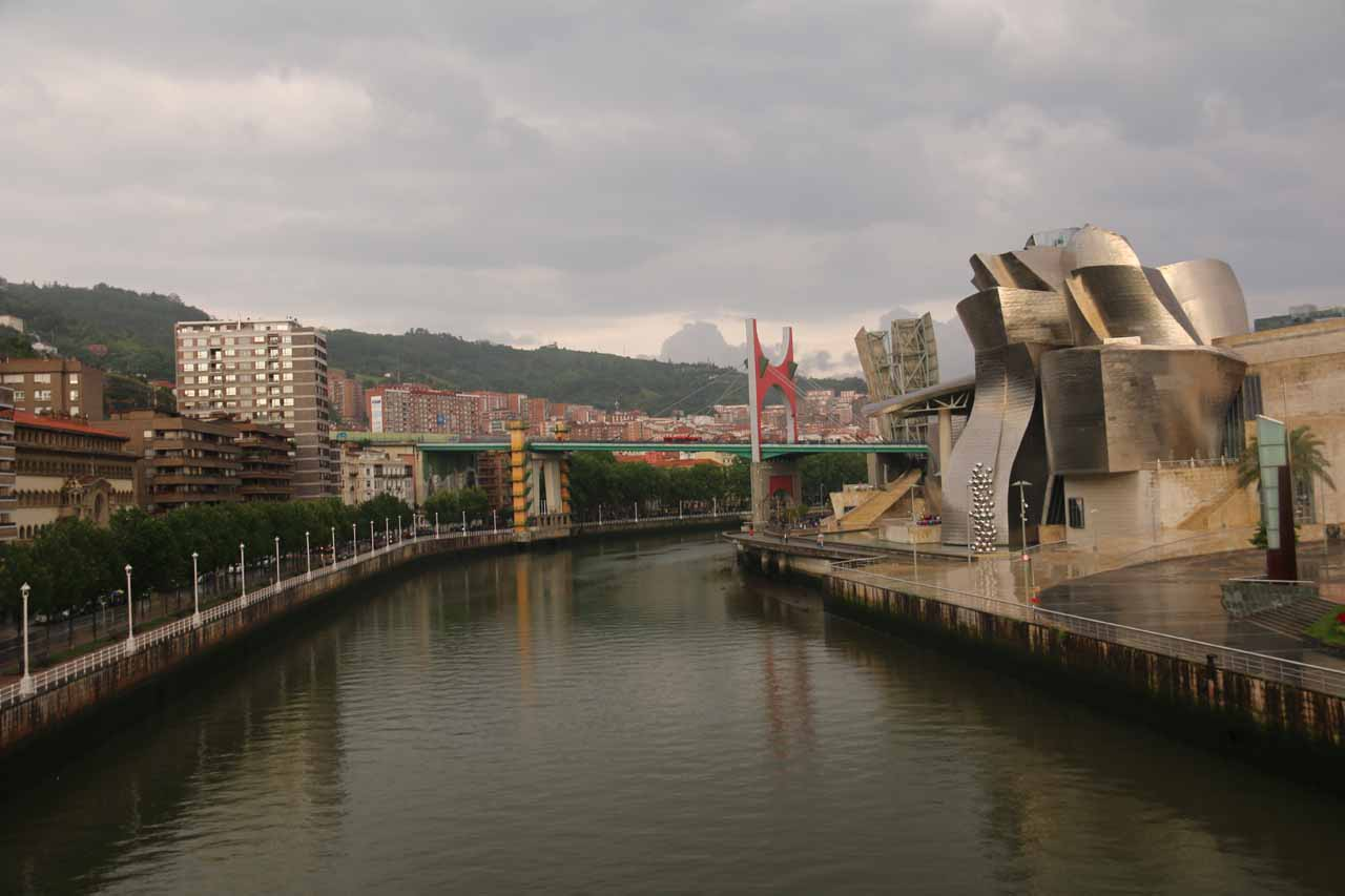 When the rain stopped, I managed to get this view back towards the Guggenheim Bilbao museum from the Puente Pedro Arrupe