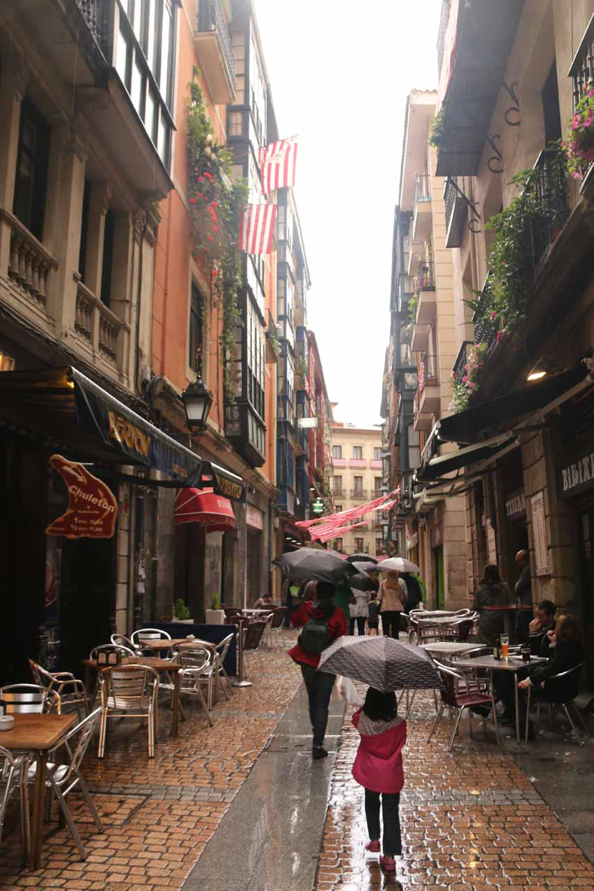 Exploring the Casco Viejo of Bilbao under the late afternoon rain