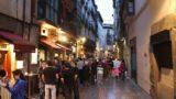 Bilbao_243_06132015 - Julie and Tahia approaching a very crowded restaurant in the Casco Viejo region of Bilbao