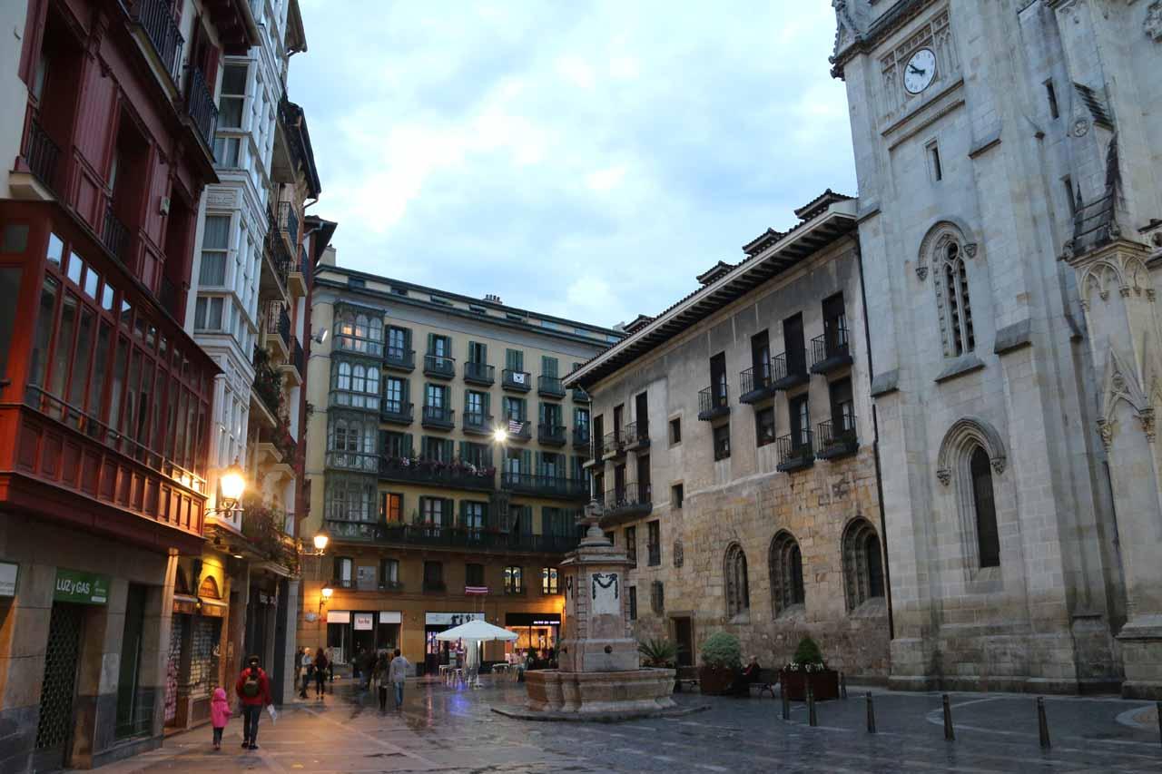 Looking across the plaza beneath the Catedral de Santiago in Bilbao