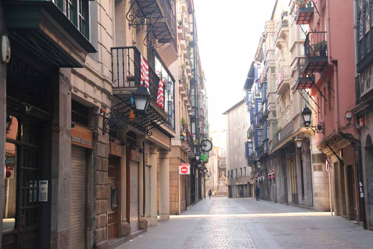 The empty streets of the Casco Viejo de Bilbao as we were walking towards the underground car park