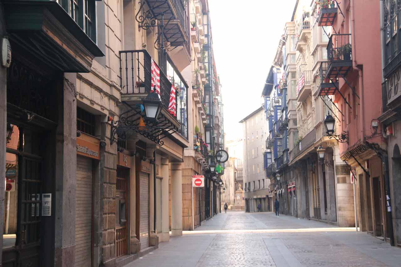The empty streets of the Casco Viejo de Bilbao as we were walking towards the underground car park