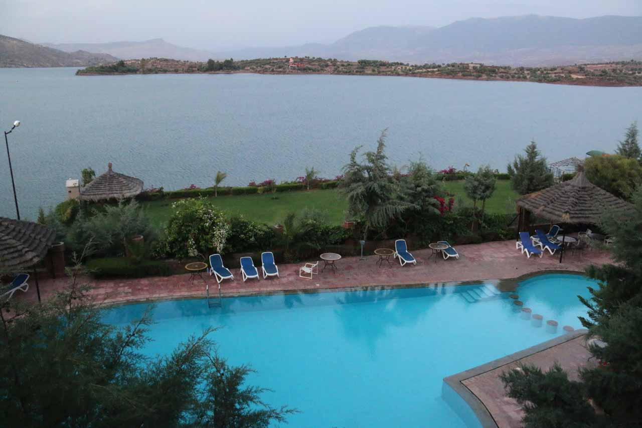 Looking over the pool towards the lake at Bin el Ouidane