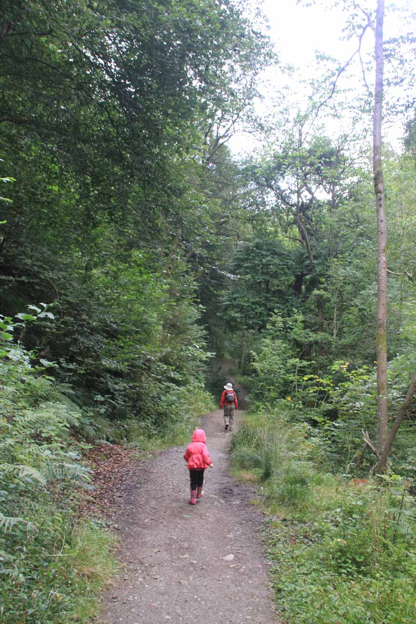 Tahia and Julie still climbing on the trail through the Birks of Aberfeldy