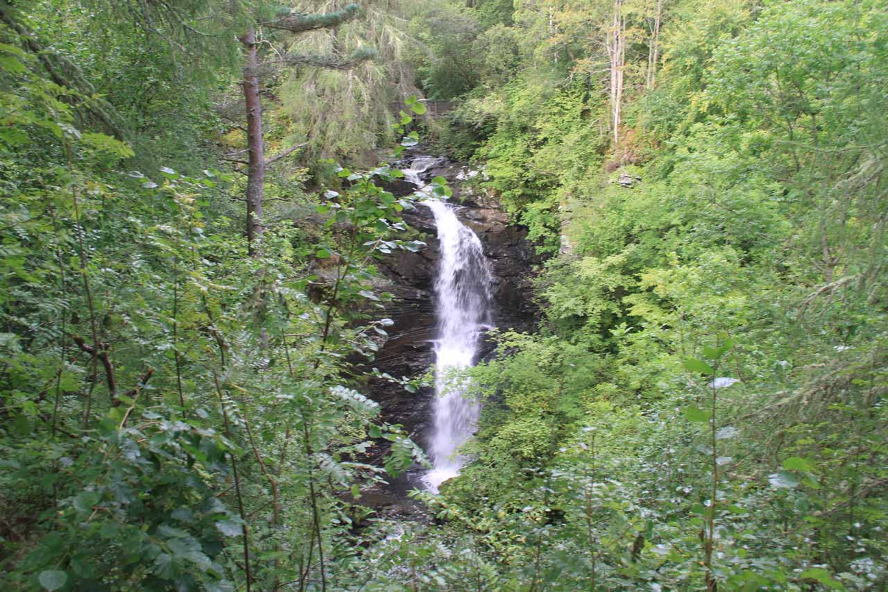 After a little over an hour on the trail, we finally got to see the Upper Falls of Moness, which was the main waterfall on this excursion