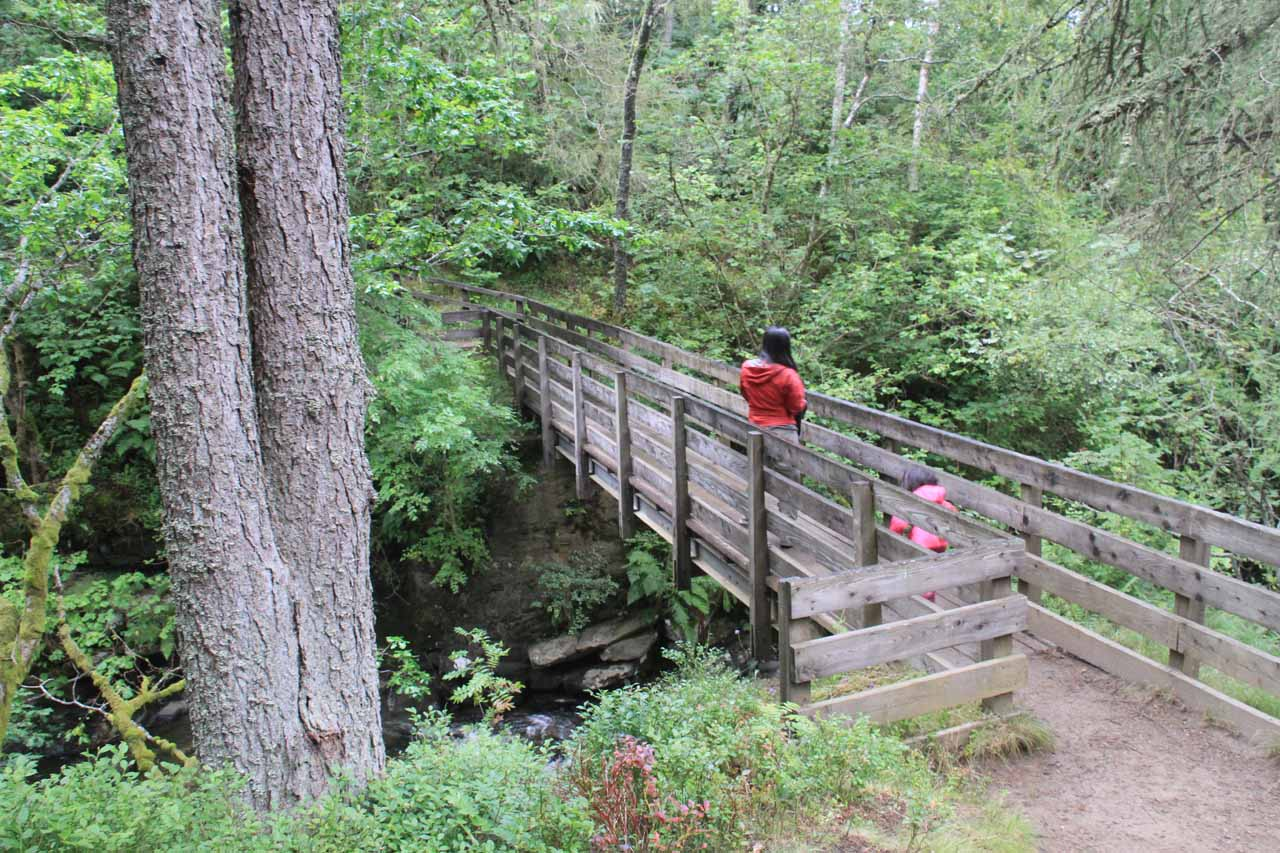 Julie and Tahia on the bridge above the Upper Falls of Moness