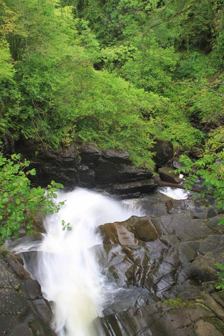 Looking down over the Upper Falls of Moness from the footbridge above it