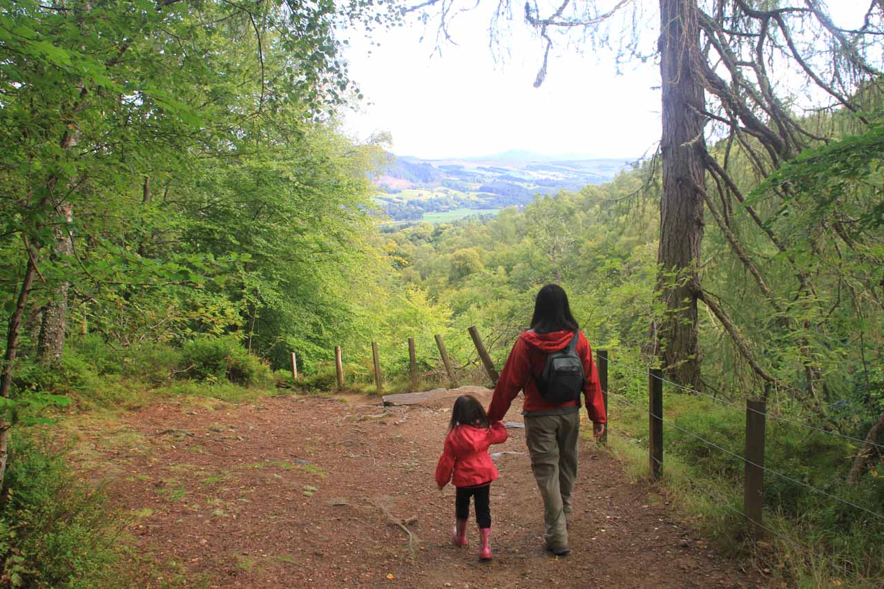 Julie and Tahia on the way to completing the loop hike in the Birks of Aberfeldy with views to boot