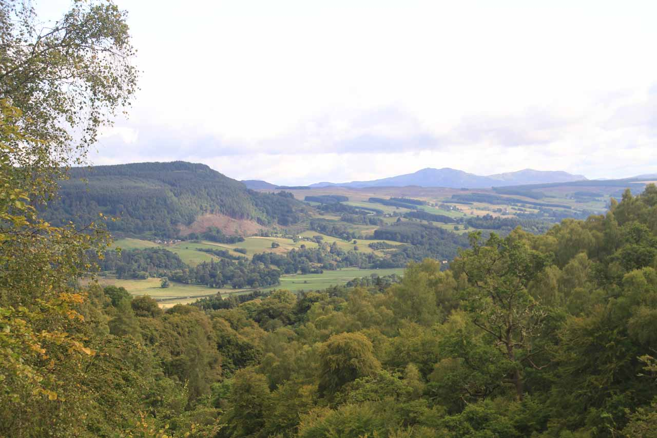 View from the trail of the surrounding hills and pastures in the vicinity of Aberfeldy
