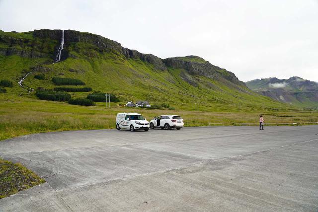 Bjarnafoss_008_08182021 - Looking across the new paved car park before the Bjarnarfoss Waterfall