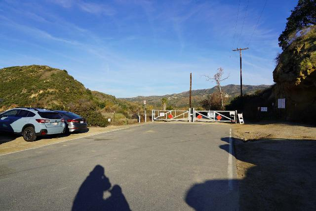 Black_Star_Canyon_Falls_003_01042020 - The gate blocking further vehicular progress at the Black Star Canyon Trailhead (unless you're a local or authority with the means to get past this gate)