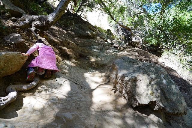 Black_Star_Canyon_Falls_197_01042020 - The higher up Black Star Creek we went, the more difficult the obstacles we encountered, including this very steep and eroded section to get around large boulders in the creek that we couldn't climb