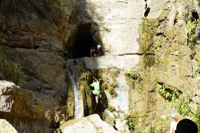 Black_Star_Canyon_Falls_238_01042020 - A closer look at someone able to climb up and down the lower waterfall to reach the mine shaft above