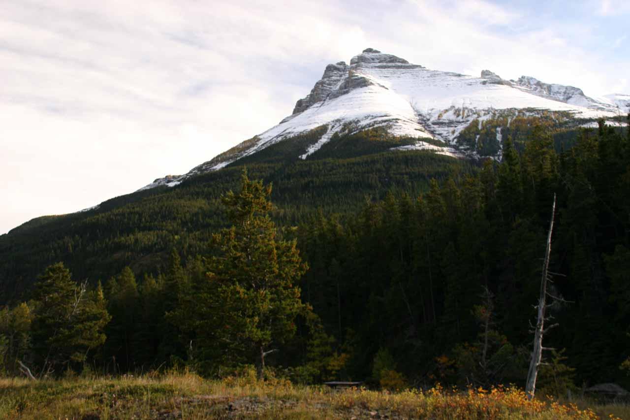 Looking across Blackiston Creek towards an attractive mountain