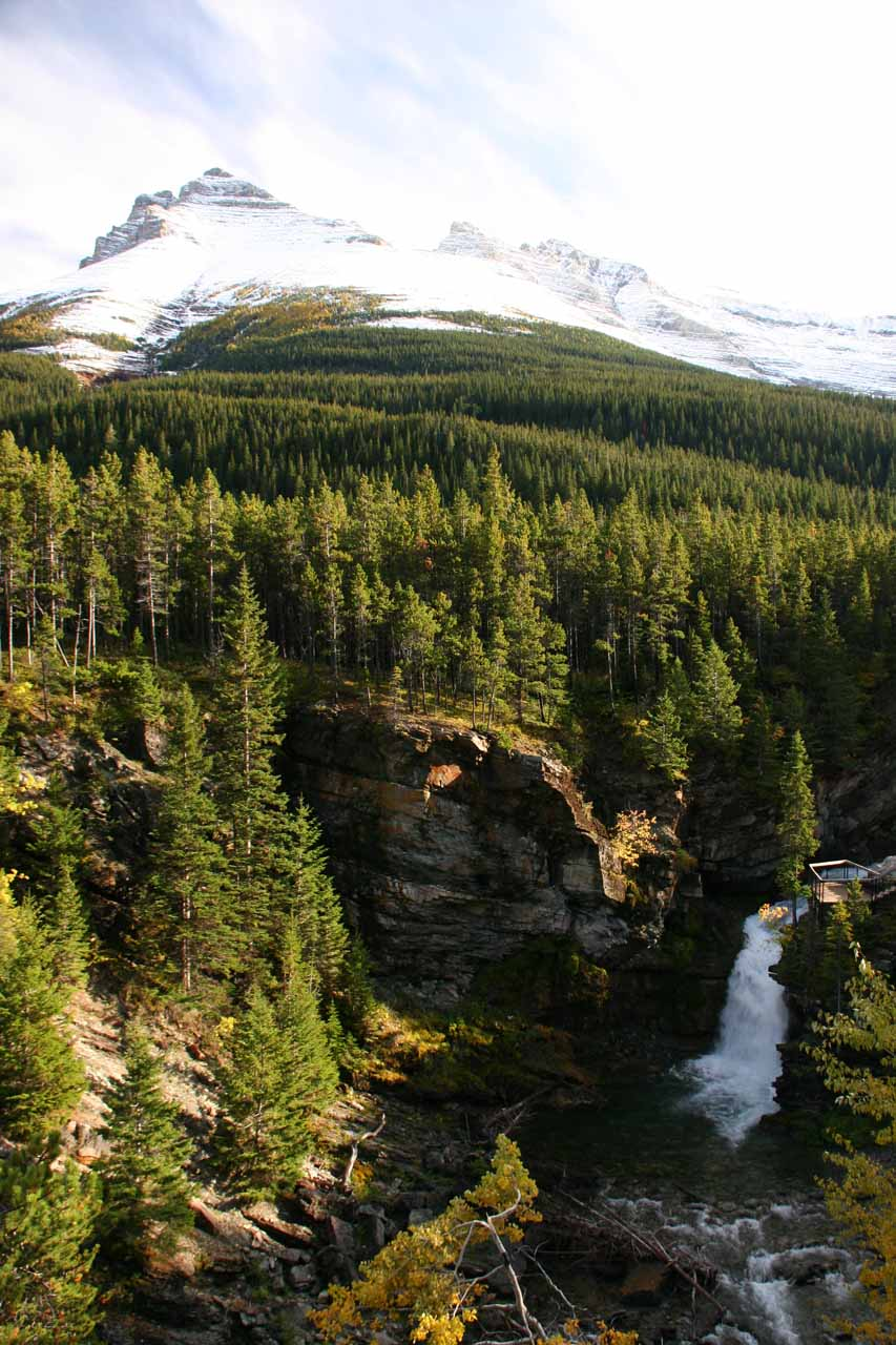 Another look at Blackiston Falls with mountain context