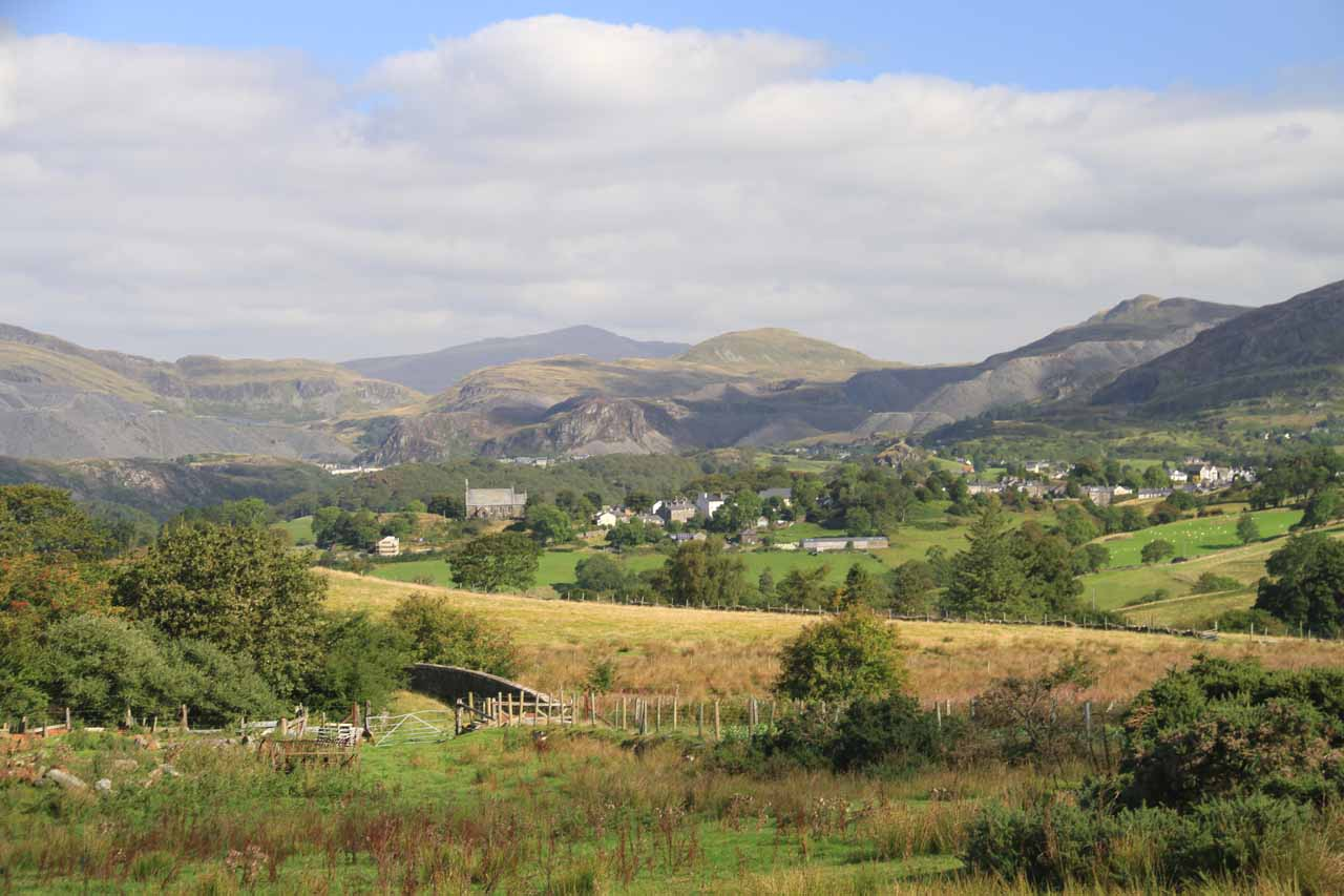 Along the A470 road south of Betws-y-Coed in the heart of Snowdonia National Park was the mining town of Blaenau Ffestiniog. This was a roadside view looking back towards the town